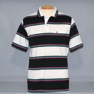 Vintage Penguin Club Striped Polo Shirt Size L